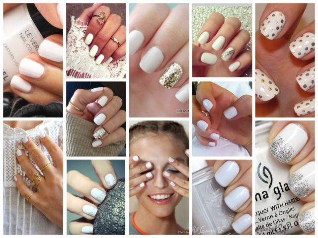 collage ready white nails